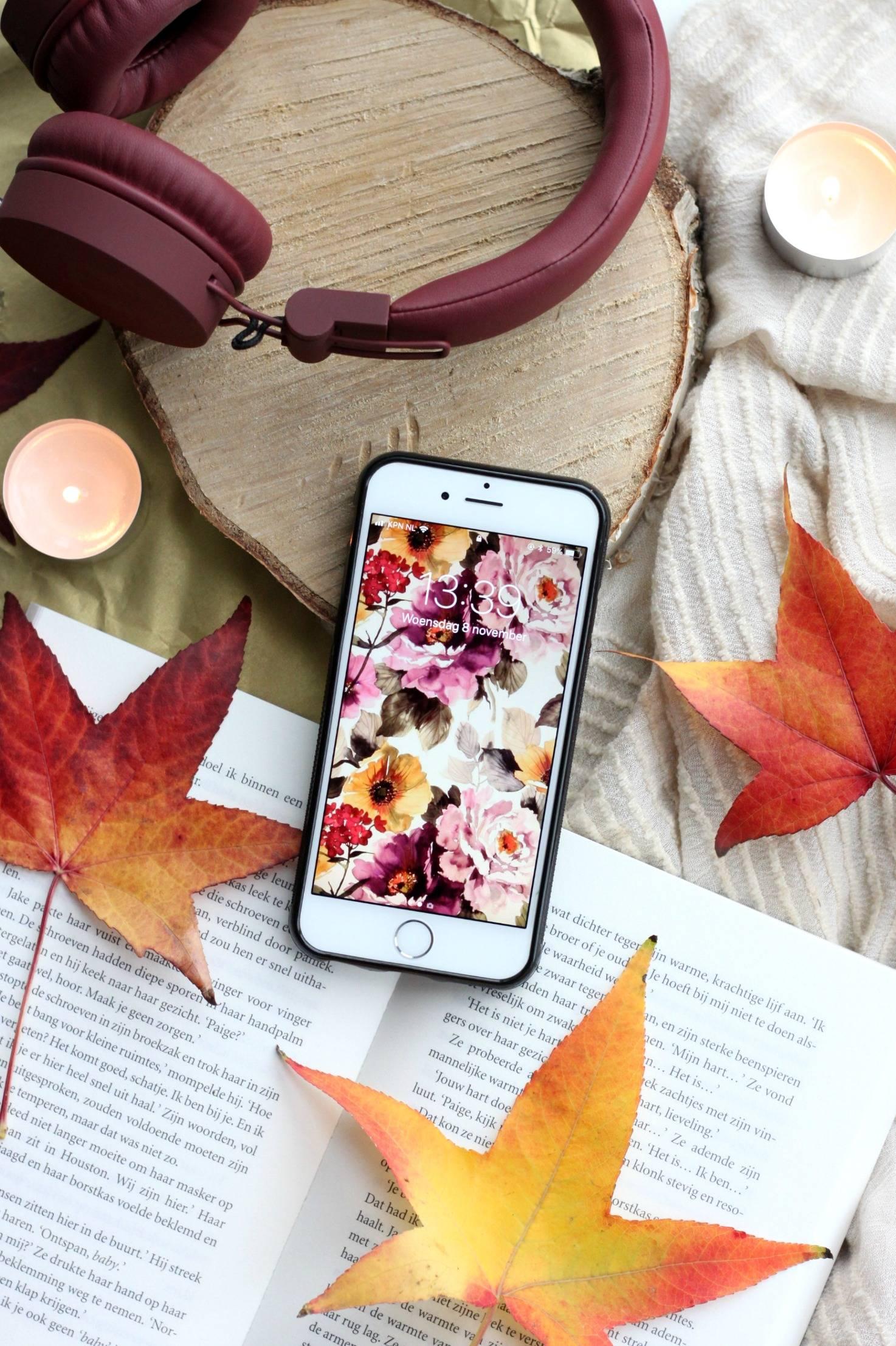 achtergrond telefoon herfst